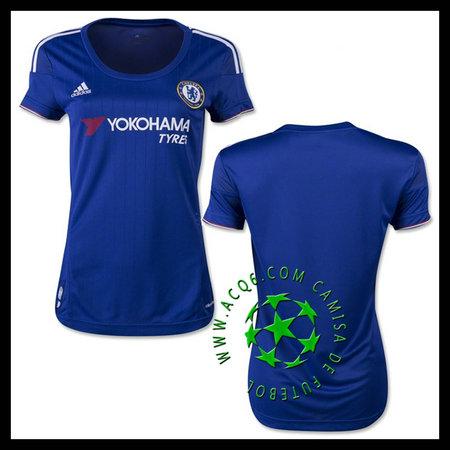 Camisas Chelsea 2015 2016 I Feminina - camisolas de futebol Feminina ... 5ceba2d382c6a