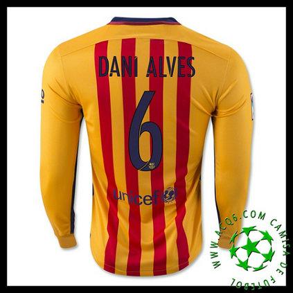 97fea102f1 Camisas Futebol Barcelona (6 DANI ALVES) Manga Longa 2015 2016 II MASCULINA