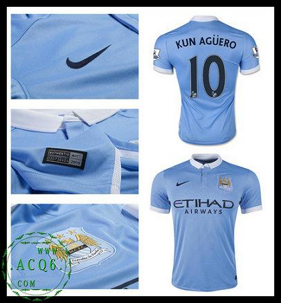 Camisas Futebol KUN AGUERO Manchester City Autêntico I 2015-2016 MASCULINA b533f1cc355ab
