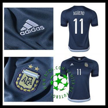 Novo Uniformes Futebol Aguero Argentina Masculina 2016 2017 Ii On ... 49ee60feeec20