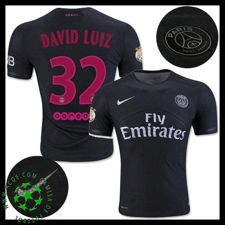 Uniformes Futebol Paris Saint Germain DAVID LUIZ 2015 2016 III MASCULINA 5c853badd426e