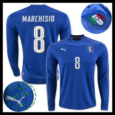 ff0eb95c15024 Camisas (8 Marchisio) Itália Autêntico I Manga Longa Euro 2016 ...