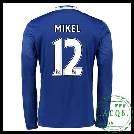 Camisas Futebol MIKEL Chelsea FC Autêntico I Manga Longa 2016 2017 MASCULINA f42216beb8e40