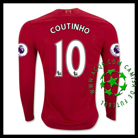 Camisas Futebol Liverpool Coutinho Manga Longa 2016-2017 I Masculina ... 7ebaf3ae6f017