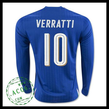 88952397a5 Camisa Du Futebol Itália (10 VERRATTI) Manga Longa Euro 2016 I MASCULINA
