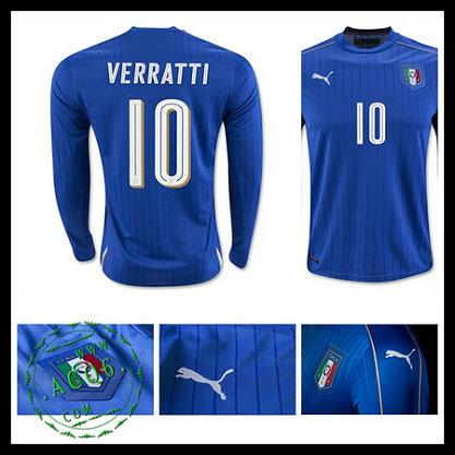 6a1dc387b6 Camisa Du Futebol Manga Longa (10 VERRATTI) Itália MASCULINA Euro 2016 I