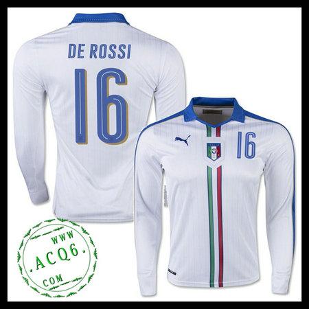 eb8185c035d2e Camisas De Futebol Manga Longa (16 DE ROSSI) Itália MASCULINA Euro 2016 II