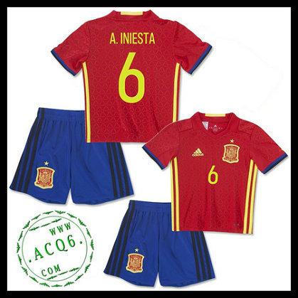 33b1fae65ff77 Camisa (6 A.Iniesta) Espanha Autêntico I Euro 2016 Infantil ...