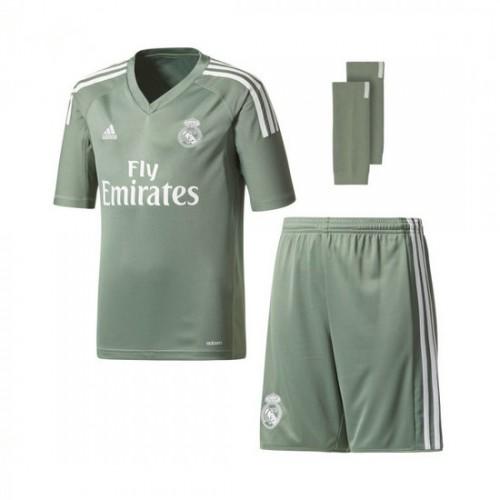 Conjunto adidas Jr Real Madrid Principal 2017-2018 Portero Trace Verde-Branco  online de7d8856ed87c