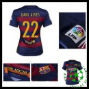 Camisa Futebol Barcelona (22 Dani Alves) 2015 2016 I Feminina