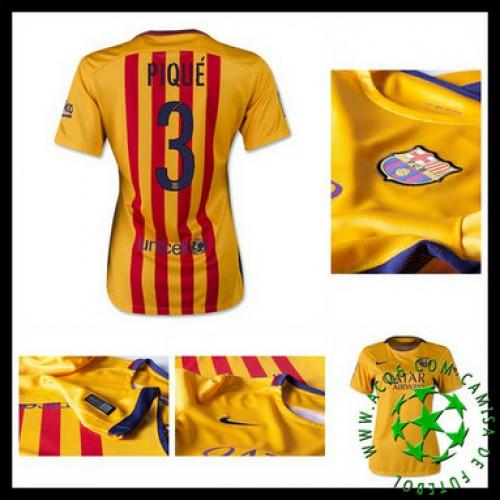 2be0ba8d368bf Camisa Barcelona (3 Pique) 2015 2016 Ii Feminina - camisolas de ...