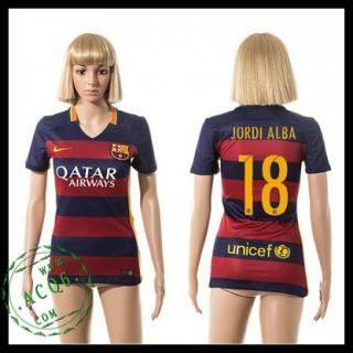 Barcelona Uniforme De Futebol Jordi Alba 2015/2016 I Feminina