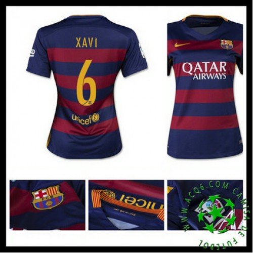 2f7281f454bf6 Camisas Barcelona (6 Xavi) 2015 2016 I Feminina - camisolas de ...