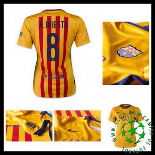f005fe4268 Uniformes Futebol Barcelona (8 A.Iniesta) 2015 2016 Ii Feminina ...