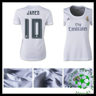 Camisas Futebol Real Madrid (10 James) 2015 2016 I Feminina