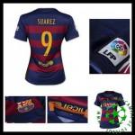 Uniformes De Futebol Barcelona (9 Suarez) 2015-2016 I Feminina