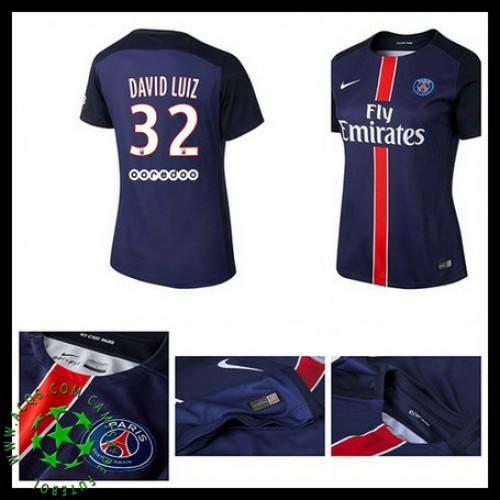 Camisa De Futebol Paris Saint Germain David Luiz 2015 2016 I Feminina 646ed5d1b9380