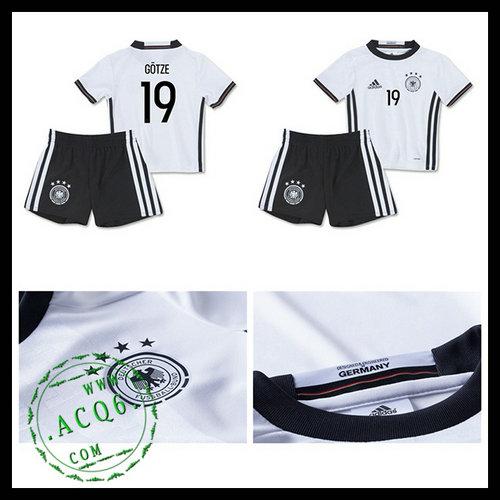 Camisa De Futebol (19 Gotze) Alemanha Autêntico I Euro 2016 Infantil ... 657c68a66887b