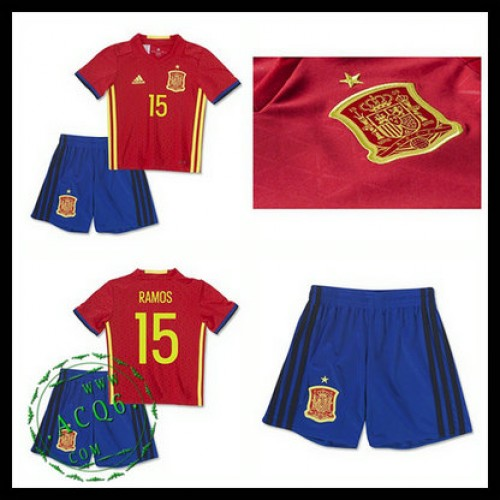 Camisas Du Futebol (15 Ramos) Espanha Autêntico I Euro 2016 Infantil ... ab1e62f9e2056