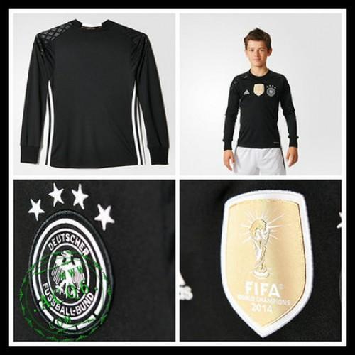 Camisa Futebol Alemanha Autêntico I Manga Longa Goleiro Euro 2016 Infantil a0f72df62059b