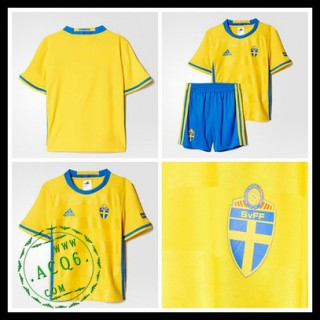 Camisa Suécia Autêntico I Euro 2016 Infantil