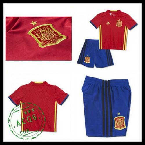 Camisas Futebol Espanha Autêntico I Euro 2016 Infantil - camisolas ... f681524ae7365