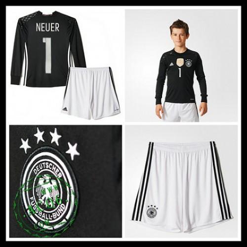 Camisetas (1 Neuer) Alemanha Autêntico I Manga Longa Goleiro Euro 2016  Infantil 7988229550c76