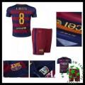 Uniforme De Futebol Barcelona (8 A.Iniesta) 2015/2016 I Infantil