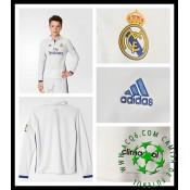 Uniformes De Futebol Real Madrid Manga Longa 2016 2017 I Infantil 9dd01ff03eb14
