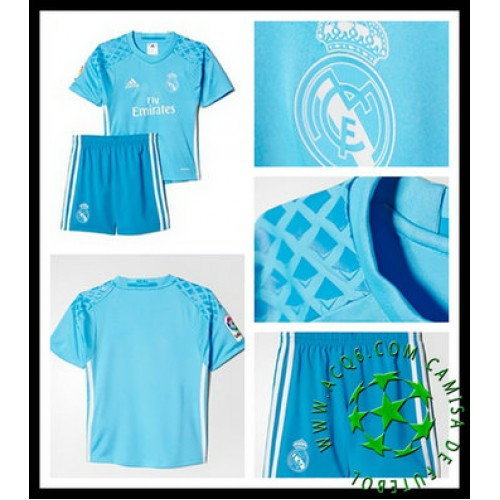 Uniformes Futebol Real Madrid Goleiro 2016 2017 I Infantil ... df82f74bb7142