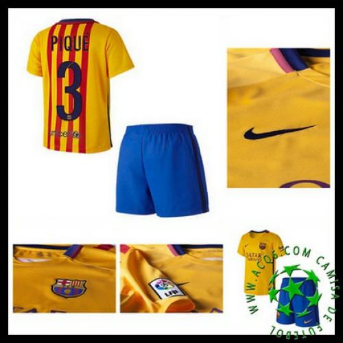 Camisa Futebol Barcelona (3 Pique) 2015-2016 Ii Infantil - camisolas ... 8a498021a13