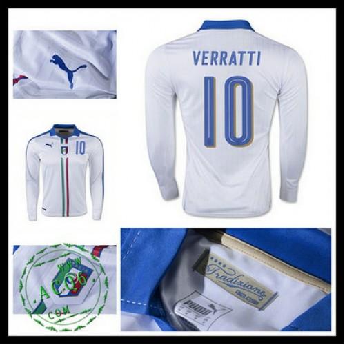 ce4d181d00 Camisas Du Futebol (10 Verratti) Itália Autêntico Ii Manga Longa Euro 2016  Masculina
