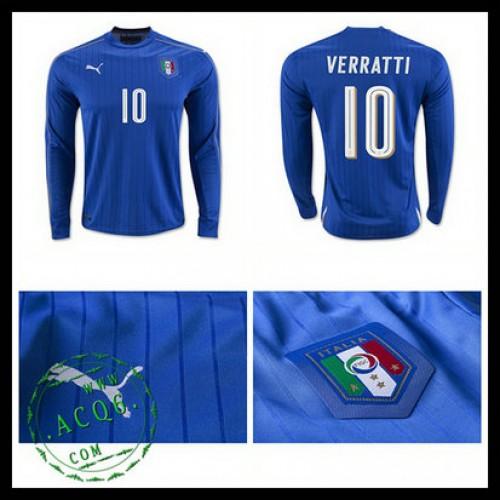 d93b3efeb3 Camisa Du Futebol (10 Verratti) Itália Autêntico I Manga Longa Euro 2016  Masculina
