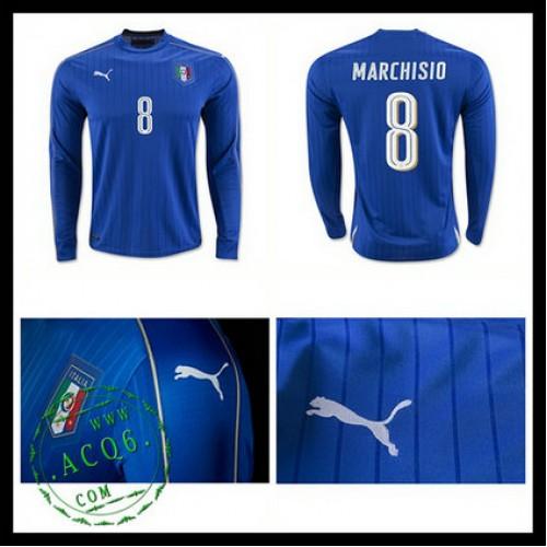 8d48d5062866c Camisas (8 Marchisio) Itália Autêntico I Manga Longa Euro 2016 Masculina