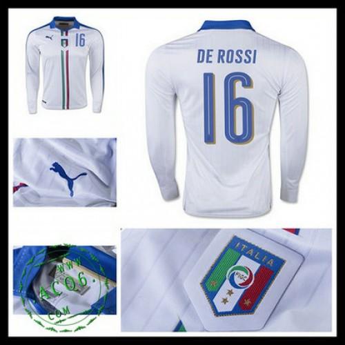 204bfa0fba0f4 Camisas De Futebol (16 De Rossi) Itália Autêntico Ii Manga Longa Euro 2016  Masculina