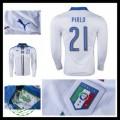 Camisas De Futebol (21 Pirlo) Itália Autêntico Ii Manga Longa Euro 2016 Masculina