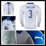 Camisa (3 Chiellini) Itália Autêntico Ii Manga Longa Euro 2016 Masculina