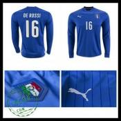 Camisa De Futebol (16 De Rossi) Itália Autêntico I Manga Longa Euro 2016  Masculina d1fdfd4e80fe5