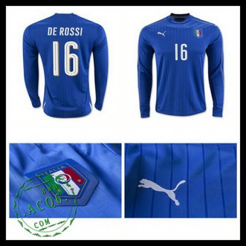 Camisa De Futebol (16 De Rossi) Itália Autêntico I Manga Longa Euro 2016  Masculina 6c29f96509898
