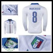 Camisa De Futebol (8 Marchisio) Itália Autêntico Ii Manga Longa Euro 2016  Masculina a0f862b314df0
