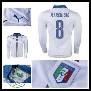 Camisa De Futebol (8 Marchisio) Itália Autêntico Ii Manga Longa Euro 2016 Masculina