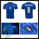 Camisas De Futebol (8 Marchisio) Itália Autêntico I Euro 2016 Masculina
