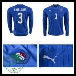 Camisetas (3 Chiellini) Itália Autêntico I Manga Longa Euro 2016 Masculina