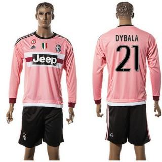Juventus Camisa De Futebol Dybala Manga Longa 2015 2016 Ii Masculina