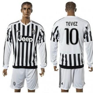Juventus Camisa De Futebol Tevez Manga Longa 2015 2016 I Masculina