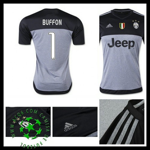 Uniforme De Futebol Juventus (1 Buffon) Goleiro 2015 2016 I