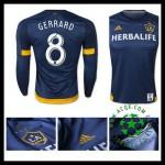 Camisa De Futebol La Galaxy (8 Gerrard) Manga Longa 2015-2016 Ii Masculina