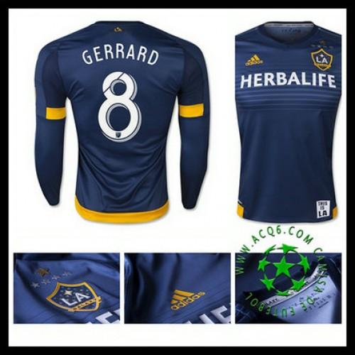 831d6f51b8658 Camisa De Futebol La Galaxy (8 Gerrard) Manga Longa 2015-2016 Ii Masculina