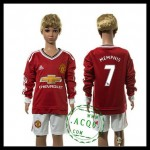Manchester United Camisa De Futebol Memphis Manga Longa 2015/2016 I Infantil