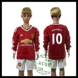 Manchester United Camisas Rooney Manga Longa 2015 2016 I Infantil